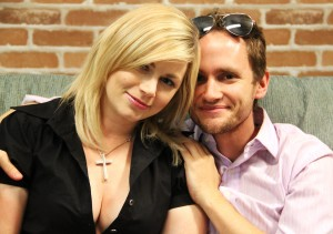 Producer/Director/Co-Writer/Actress Jessica Cameron & Co-Writer/Producer Jonathan Higgins on the last day of filming.